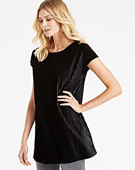 Black Textured Velvet Shell Top