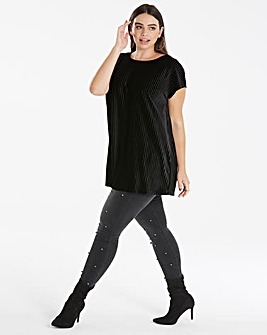 Black Textured Velvet Shell Top