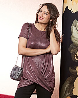 Purple Metallic Twist Hem Tunic