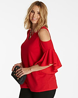 Cross Front Ruffle Sleeve Top