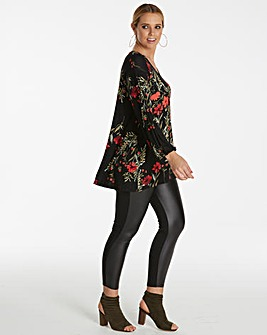 Black Print Balloon Sleeve Longline Top