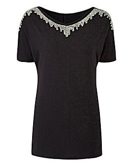 Embellished Neckline T-shirt