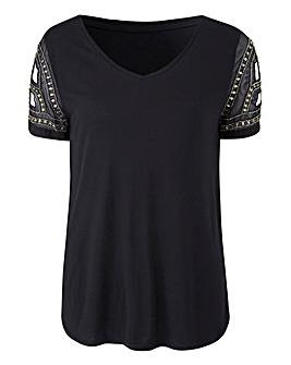 Embellished Woven Sleeve Top