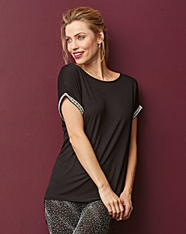 Black Embellished Crystal Shell Top