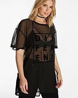Slogan Print Mesh Boyfriend T-shirt