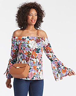 Green Print Flared Sleeve Bardot Top