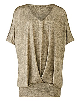 Metallic Foil Print Pleated Hem Top