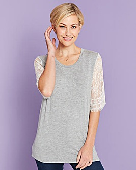 Grey / White Lace Sleeve T-shirt
