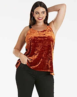 Burnt Orange Contrast Strap Velour Cami