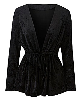 Velvet Shrug with Tie Detail