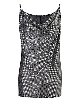 Silver Sequin Effect Cami