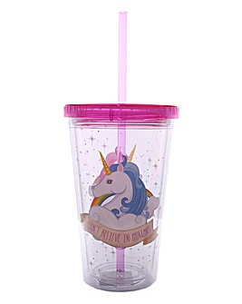 Unicorn Double Walled Cup with Straw