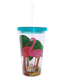 Flamingo Double Walled Cup with Straw
