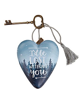 Lost Without You Heart & Key Decoration