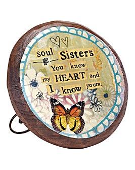 Soul Sister Wood Carved Medallion