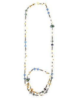 Lizzie Lee Long Facet Bead Necklace