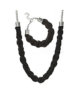 Mood beaded plait jewellery set