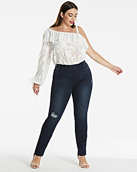Shape & Sculpt Distressed Straight Leg