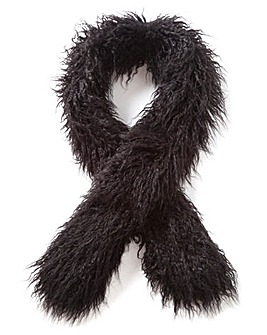 Black Mongolian Faux Fur Stole