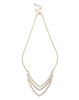 Lipsy 3 Row V Collar Necklace