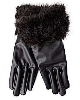 Lipsy Black Gloves with Fur