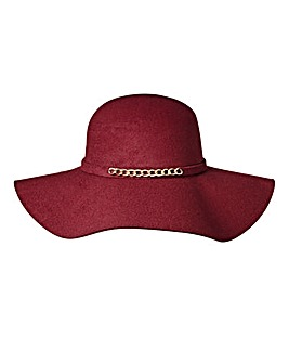Felt Floppy Hat with Chain Detail