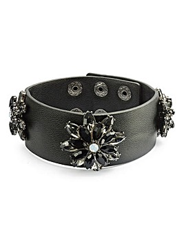 Faux Leather Jewelled Cuff