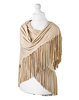 Faux Suede Fringed Scarf