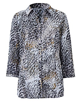 Printed Burnout Blouse with 3/4 Sleeves