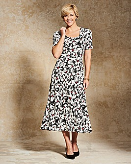 Print Square Neck Jersey Dress L48