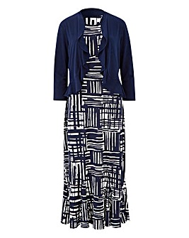 Navy/Ivory Print Dress & Shrug L45