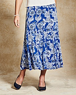 Floral Print Jersey Panelled Skirt L32in