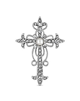Mood Crystal And Pearl Cross Brooch