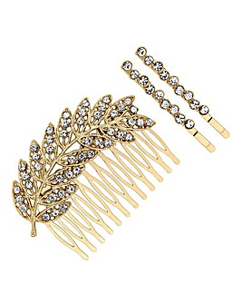 Mood Leaf Hair Comb And Slide Set