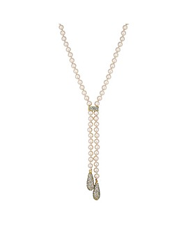 Jon Richard Pearl Pave Droplet Necklace