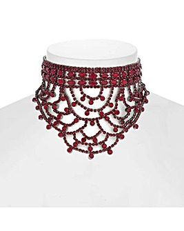 Mood Diamante Drape Choker Necklace