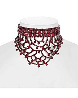 Mood Diamante Drape Choker Necklace