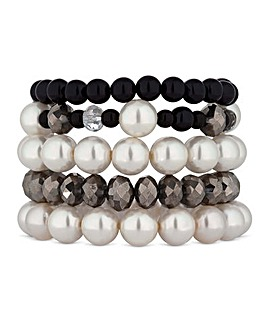 Mood Monochrome Pearl Bracelet Set