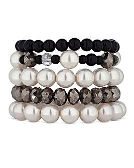 Mood Monochrome Pearl Bracelet Set