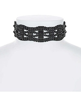 Mood Jet Diamante Choker Necklace