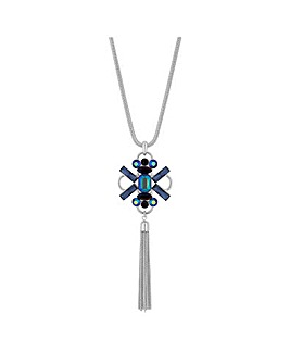 Mood Blue Crystal Tassel Long Necklace