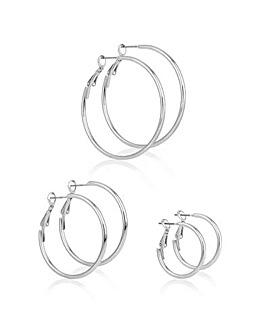 Mood Silver Multi Hoop Earring Set