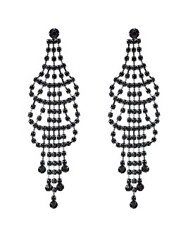 Mood Jet Crystal Chandelier Earring