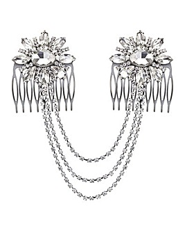 Mood Crystal Drape Double Hair Comb