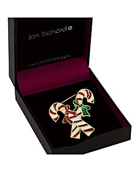 Jon Richard Candy Cane Brooch