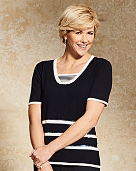 Stripe Insert Jumper with Sequin Detail