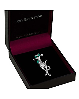 Jon Richard Green Crystal Cat Brooch