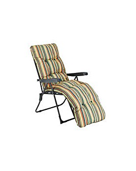 Striped Foldable Sun Lounger andCushion