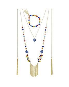Mood multi colour beaded jewellery set
