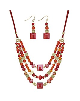 Mood Orange Beaded Jewellery Set